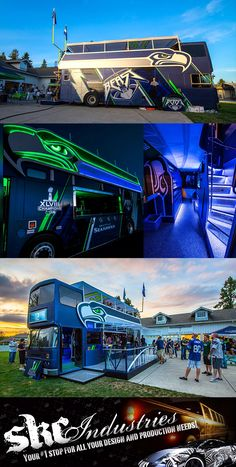 """Check out this Seattle Seahawks Bus! Excellent work by SKC Industries. Material used: 60"""" Avery Supreme Wrapping Film - SW900 Midnight Metallic Blue, GREEN - 15"""" Gerber Lime Green Florescent, SILVER - 60"""" 3M 1080 Satin White Aluminum"""