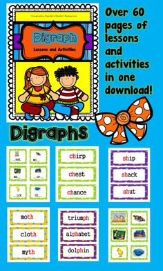 All you need for teaching digraphs in one place!	    	 This set includes sorts, word cards, picture cards, and even text that is saturated in words with digraphs! The materials can be used many ways. Powerful for phonological awareness, phonics, and fluency practice. Materials can be used whole group, small group, and even in literacy centers.