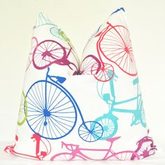 Toss Pillow - Bicycle - 20x20 in - Red - Blue - Green - Aqua - Purple. $45.00, via Etsy.