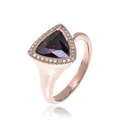 18kt rose gold triangle shaped tourmaline and diamond ring.