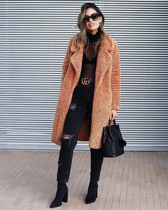 Trendy Brown Teddy Coat For Winter Fashion Outfits Angashion-Womens-Fuzzy-Fleece-Lapel-Open-Front-Long-Cardigan-Coat-Faux-Fur-Warm-Winter-Outwear-Jackets-with-Pockets Outfit Essentials, Fashion Essentials, Fashion Week, Look Fashion, Autumn Fashion, Fashion Coat, Fashion Bloggers, Womens Fashion, New York Winter Fashion