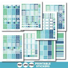 Blue planner stickers, Printable planner stickers, STI-807