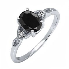 Sterling Silver Black Sapphire & White Diamond Women's Three Stone Ring (1.73 cttw, Available in size 5, 6, 7, 8, 9)	by Gem Stone King