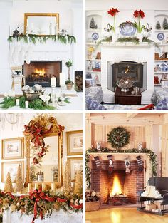 Different Christmas mantel ideas.... since I don't have a mantel maybe this would work for the piano