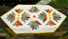 Autumn Leaves Quilted Dimensional Table Runner by TwinSisCreations https://www.etsy.com/shop/TwinSisCreations