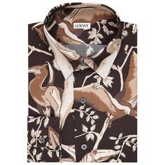 Loewe Floral Shirt (£495) ❤ liked on Polyvore featuring men's fashion, men's clothing, men's shirts, men's casual shirts, mens holiday shirts, flower print mens shirt, mens floral print shirts, mens silk shirt and mens floral shirts