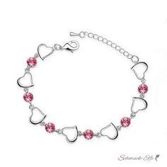 Armband Herzilein vergoldet mit Strass Fuchsia Pink  im...