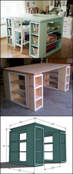 This would be the perfect DIY work station for my craft room! The storage system - Desk Wood - Ideas of Desk Wood - This would be the perfect DIY work station for my craft room! The storage system that will get your craft station organized now! Home Projects, Home Crafts, Diy Home Decor, Sewing Projects, Diy Craft Projects, Sewing Crafts, Craft Organization, Craft Storage, Table Storage