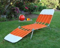 Vtg Plastic Vinyl Tube Strap Chaise Lounge Folding Patio