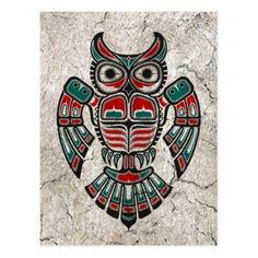 Cracked Red and Black Haida Spirit Owl Postcard