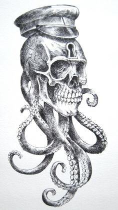 All About Art Tattoo Studio Rangiora. Quality work by Professional Artist. Crane, Totenkopf Tattoos, Tatuajes Tattoos, Octopus Art, Art En Ligne, Skull Design, Skull Tattoos, Skull And Bones, Skull Art