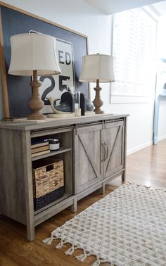 Hidden Storage With Style Cottage Farmhouse Entryway - Affordable entry styling with a barn door console cabinet, lighting, vintage chalkboard and road sign - #sponsored with Better Homes & Gardens, from Walmart