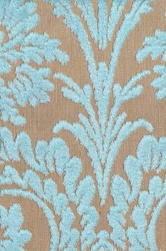 Ombrione Fabric Raised leaf design in pale turquoise velvet on natural cloth