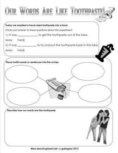 Words Are Not for Hurting activity. Toothpaste is like our words activity and free printable.