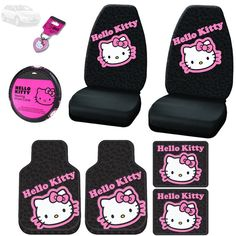 New Hello Kitty Car Seat Covers, Steering Wheel Cover, Front and Rear Floor Mats and Key Chain Set - Shipping Included Golf Cart Seat Covers, Truck Seat Covers, Car Seats, Hello Kitty Purse, Hello Kitty Items, Princess Car, Barbie Camper, Leather Chair With Ottoman, Car Freshener