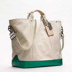 Coach, Washed Canvas Beach tote in Salt/green, $350