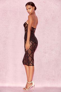 595a62982c Clothing   Bandage Dresses    Erene  Black Bandage  amp  Sheer Mesh  Strapless Dress