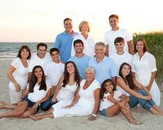 Great pose for large family group. Extended family portrait on the beach. Cape Cod beach photos.
