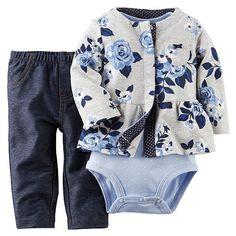 "Carter's Girls 3 Piece Grey/Blue Floral Print French Terry Peplum Cardigan, Polka Dot Bodysuit and Faux Denim Pant Set - Carters - Babies ""R"" Us"