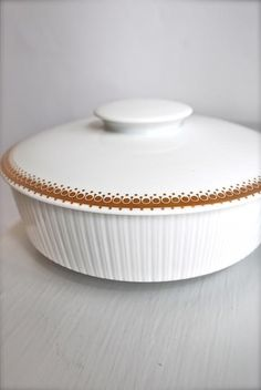 Bjorn Wiinblad Gold And White Lotus Lidded Porcelain Dish by Light The Glittery Moon on ezebee.com