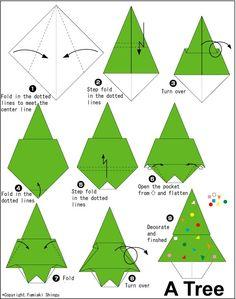 Schema per fare l'albero di Natale origami