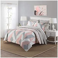 Light pink bedrooms - 3 Piece Girls Light Pink Grey White Geometric Polkadot Theme Comforter Queen Set, Beautiful Girly All Over Abstract Shape Polka Dot Bedding, Stylish Modern Small Polkadots Dots Themed Pattern, Gray Re Pink Bedroom Design, Pink Bedroom Decor, Pink Bedroom For Girls, Girl Bedroom Designs, Gold Bedroom, Teen Room Decor, Teen Girl Bedrooms, Pink Gray Bedroom, Trendy Bedroom