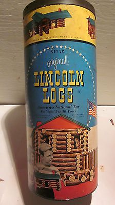 "VINTAGE 1940s,ORIGINAL ""LINCOLN LOGS"" 178 PIECE?? CANISTER  SET #5 C"