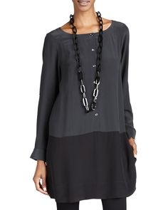 Silk Colorblock Tunic/Dress, Petite, Black/Grey - Eileen Fisher