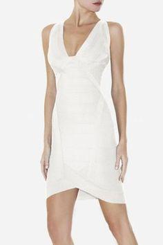 Herve Leger Ari Essential Bandage Dress in 'Alabaster' Fabulous Dresses, Sexy Dresses, Beautiful Dresses, Fashion Dresses, Pretty Dresses, White Bandage Dress, White Dress, Bodycon Dress, Bandage Dresses