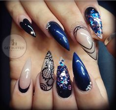 Dark blue with chunky purple glitter lace designed nude accent nails with rhinestones stiletto nails