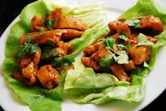 Checkout these light and low carb Thai Chicken Lettuce Wraps for a fresh new low Points Plus way to enjoy your favorite Thai stir-fry chicken.