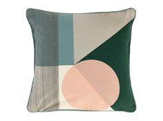Axle Printed Circle Cushion 45  x 45cm, Green Multi