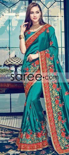 SEA GREEN SATIN SILK SAREE WITH RESHAM WORK  #Saree #GeorgetteSarees #IndianSaree #Sarees  #SilkSarees #PartywearSarees #RegularwearSarees #officeWearSarees #WeddingSarees #BuyOnline #OnlieSarees #NetSarees #ChiffonSarees #DesignerSarees #SareeFashion