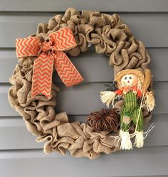 Fall Burlap Wreath, Autumn Wreath, Fall Wreath for Front Door, Burlap Scarecrow Wreath, Large Burlap Wreath, Fall Scarecrow Pumpkin Wreath by CraftyCornerDesign on Etsy