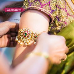 """An arm-band or """"bajuband"""" can be used to accent your wedding outfit and mehendi! #indianwedding #weddinginindia #weddingplanner #eventplanner #weddingjewelry #weddingjewellery #jewelry #jewellery #bridalaccessories #bridaljewelry #bridaljewellery"""
