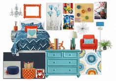 Maybe bring the turquoise into the bedroom and combine with cobalt/royal blue and touches of orange?