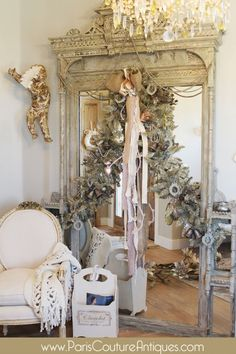 Antique Vintage Shabby Chic Chandelier French Architectural pink garland crown bells swag silver angel sock pearls lighting Decorating DIY Holidays D. Shabby Chic Chandelier, Shabby Chic Mirror, Vintage Shabby Chic, Shabby Chic Homes, Shabby Chic Decor, French Christmas, Shabby Chic Christmas, Elegant Christmas, Christmas Trees