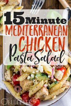 This Mediterranean Chicken Pasta Salad is simple to make -- only 15 minutes to throw together thanks to pre-cooked frozen chicken breast! Made with fresh veggies, feta cheese and a simple homemade dressing, this pasta salad is an explosion of flavors that Pre Cooked Chicken, Cooked Chicken Recipes, Chicken Pasta, How To Cook Chicken, Frozen Chicken, Chicken Salad, Grilled Chicken, Mediterranean Pasta Salads, Mediterranean Chicken