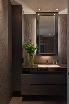 Browse modern bathroom designs and decorating ideas. Discover inspiration for your minimalist bathroom remodel, including vanities, cabinets, mirrors, faucets room decor projects for a taste of magic bathroom ideas Wood Bathroom, Bathroom Layout, Bathroom Colors, Bathroom Interior Design, Modern Bathroom, Small Bathroom, Bathroom Cabinets, Bathroom Lighting, Mirror Bathroom