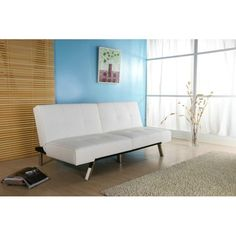 Update your living space, and welcome overnight guests with this contemporary sofa bed. Upholstered in pristine white leatherette and supported by stylish chrome legs, it features a split back and a smooth mechanism for conversion within seconds.
