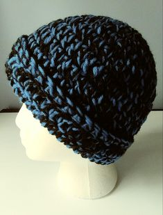 Crochet Beanie Royal Blue and Black adult