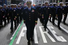 Coast Guard members marching in #NYC St. #Patrick's Day #Parade.