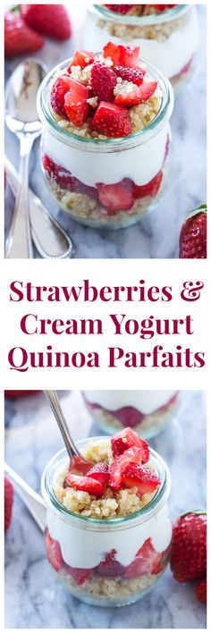 Strawberries and Cream Yogurt Quinoa Parfaits | I can't get enough of these parfaits! So good for breakfast or an afternoon snack! | @reciperunner