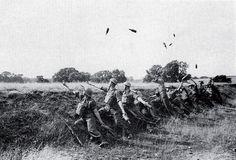 Britainiar armadako Home Guard dibisioko soldaduak Molotov koktelen bidezko erasoa entrenatzen, Bigarren Mundu Gerran.