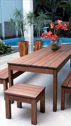 set mesa comedor bancos y esquinero madera de eucalipto