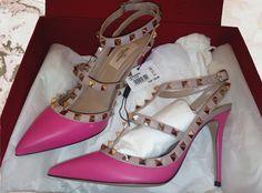 Valentino Rockstud, Pumps, Heels, Ankle Strap, Dust Bag, Studs, Footwear, Pink, Bags
