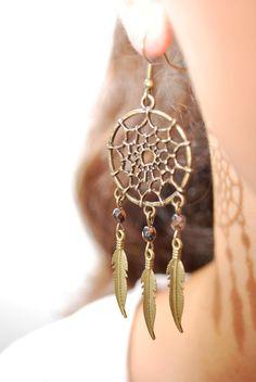 SALE! Dream Catcher beads earrings, boho earrings, hippie earrings, summer earrings, feather earrings, bohemian earrings