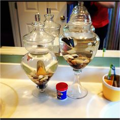Apothecary jars and betta fish...for the guest bathroom!
