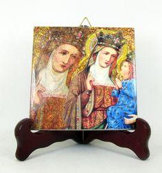 Saint Anne devotional ceramic tile holy art - catholic gift idea - Child Virgin Mary art - St Anne - religious wall art - christian decor
