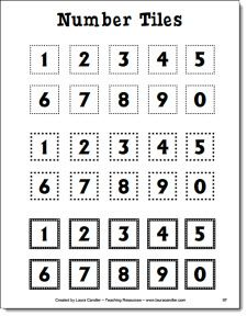Free number tile patterns to duplicate on card stock for number tile activites